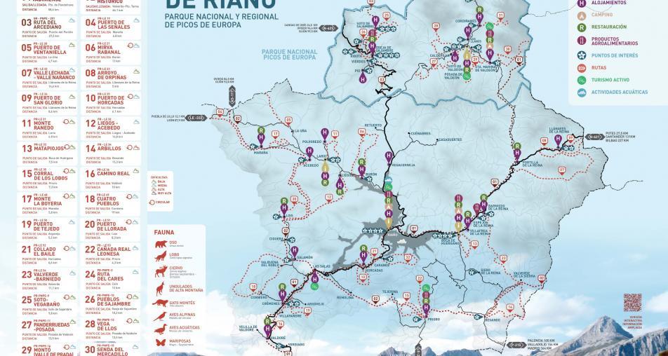 Mapa turístico: Mancomunidad Montaña de Riaño