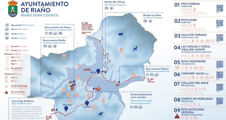 Mapa turístico: Montaña de Riaño
